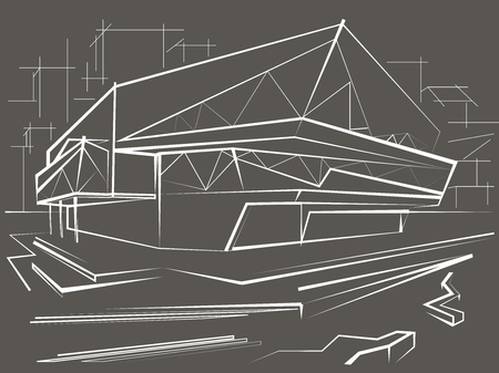 city background: architectural linear sketch modern building on city background. Gray Illustration