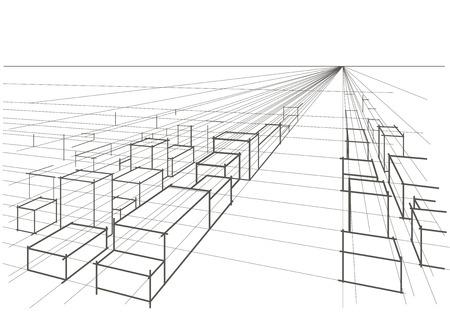 perspectiva lineal: perspectiva abstracta paisaje de la ciudad bosquejo arquitect�nico lineal Vectores