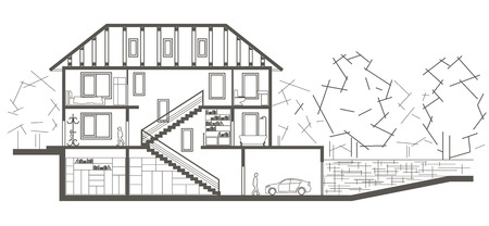 sectional: Architectural linear sketch tree level house. Sectional drawing