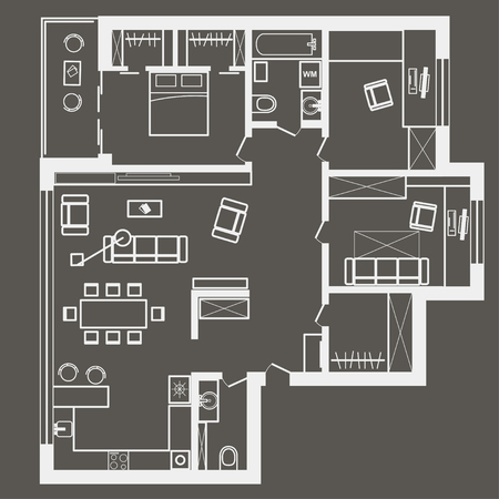 Linear Architectural Sketch Plan Of Four Bedroom Apartment Royalty
