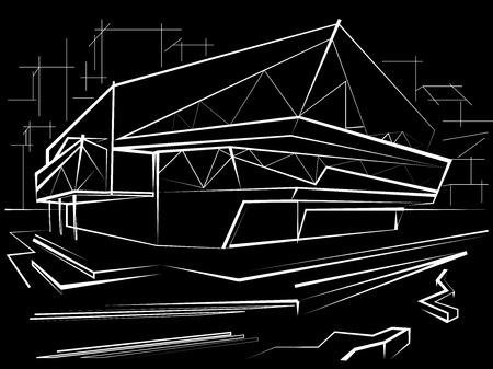 building sketch: architectural linear sketch modern building on city background. Black Illustration