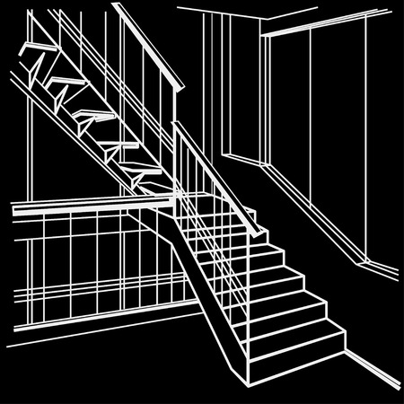 stairs interior: linear architectural sketch interior stairs on black background