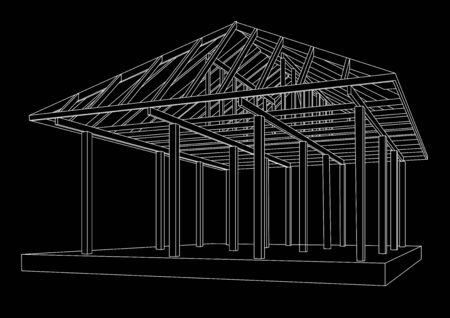 linear perspective: Linear architectural sketch wood frame perspective on black background