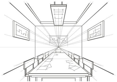 perspectiva lineal: sala de conferencias de arquitectura lineal entre boceto