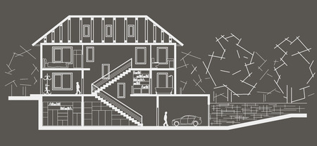sectional: Architectural linear sketch tree level house. Sectional drawing on gray background Illustration
