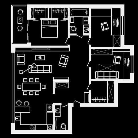 linéaire plan d'esquisse architecturale appartement de trois chambres sur fond noir