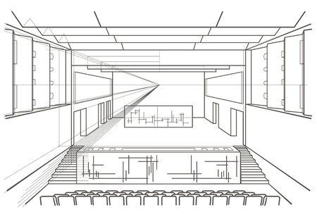 concert hall: Linear architectural sketch concert hall Illustration