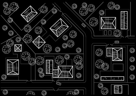 general: Linear architectural sketch general plan of village on black background
