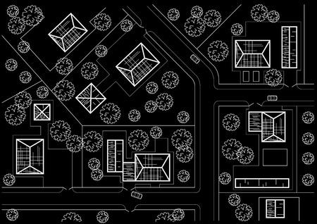 general: Linear architectural sketch general plan of village on black background