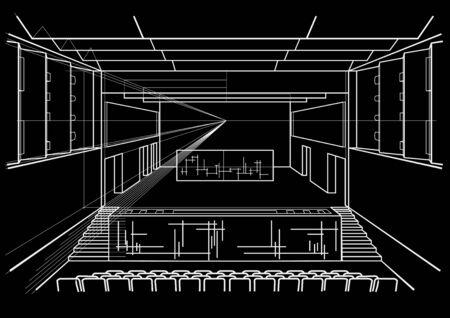 concert hall: Linear architectural sketch concert hall on black background