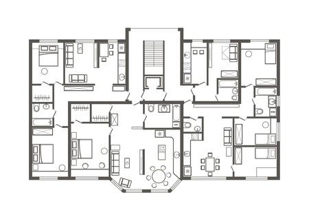 linéaire esquisse du plan architectural de la section de l'appartement