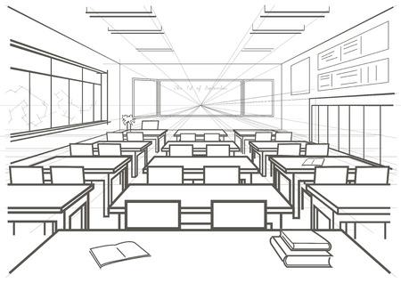 perspectiva lineal: lineal de arquitectura de interiores boceto aula de la escuela Vectores