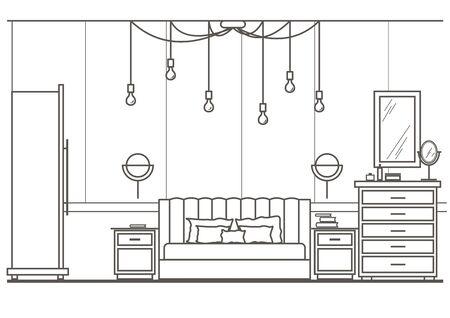 modern interior: architectural sketch interior modern bedroom front view