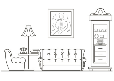 linear architectural sketch living-room front view
