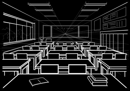 perspectiva lineal: linear architectural sketch interior school classroom on black background