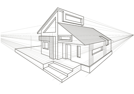 detached house: Linear architectural sketch detached house