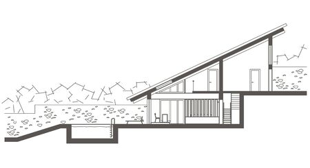 two level house: Architectural linear sketch two level house with swimming-pool. Sectional drawing