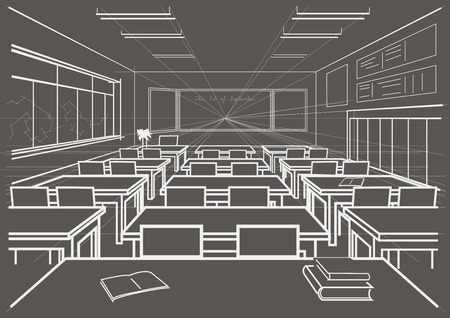 perspectiva lineal: linear architectural sketch interior school classroom on gray background