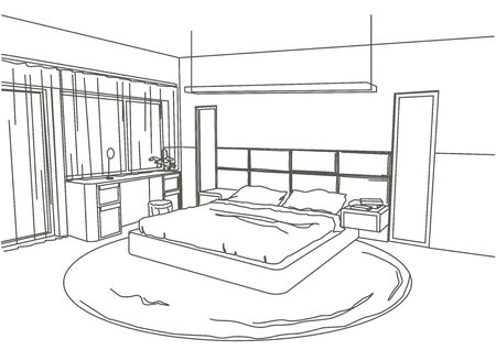 design drawing: architectural sketch interior modern bedroom white background