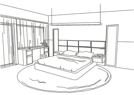 modern interior: architectural sketch interior modern bedroom white background