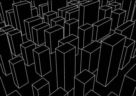 city background: abstract linear city landscape black background Illustration
