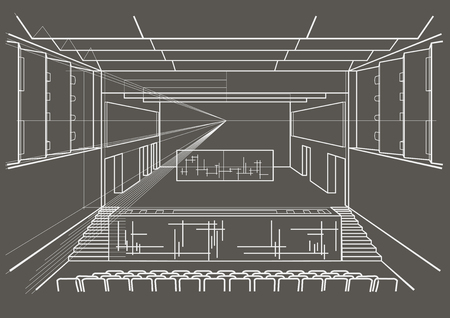 concert hall: Linear architectural sketch concert hall on gray background
