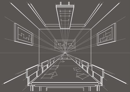 perspectiva lineal: linear architectural sketch interior conference room on gray background