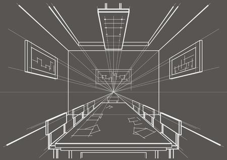 perspectiva lineal: sala de bosquejo arquitectónico lineal interior conferencia sobre fondo gris
