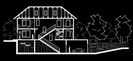 sectional: Architectural linear sketch tree level house. Sectional drawing on black background Illustration