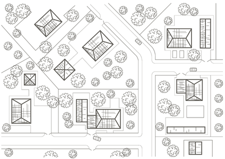 general: Linear architectural sketch general plan of village
