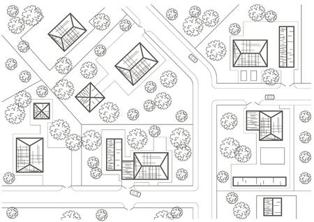 general: Linear architectural sketch general plan of village
