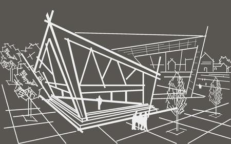 building sketch: linear architectural sketch modern conered building gray background Illustration