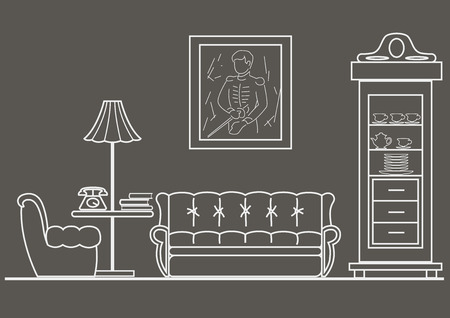 sideboard: linear architectural sketch living-room front view on gray background Illustration