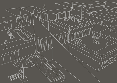 terraced: linear architectural sketch terraced houses top view gray background