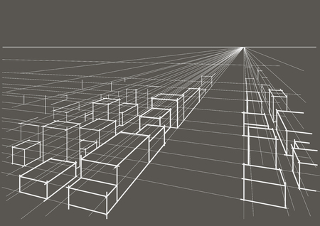 perspectiva lineal: abstract linear architectural sketch city landscape perspective on gray background