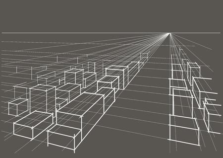 perspectiva lineal: abstracta lineal arquitectónica perspectiva boceto paisaje de la ciudad en el fondo gris Vectores
