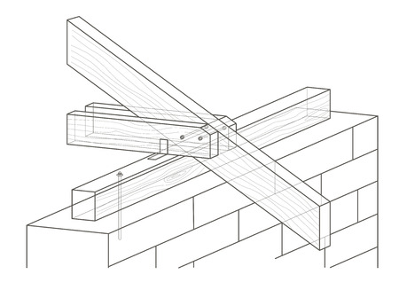 housing project: linear architectural sketch roof construction