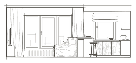 kitchen studio: linear architectural sketch modern studio front view