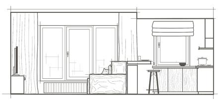 Architektur Lineare Skizze Innen Kleine Kuche Vorderansicht