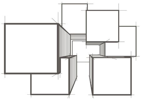 sketch: abstract architectural sketch cubes