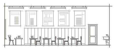 perspectiva lineal: linear architectural sketch interior classroom front view Vectores