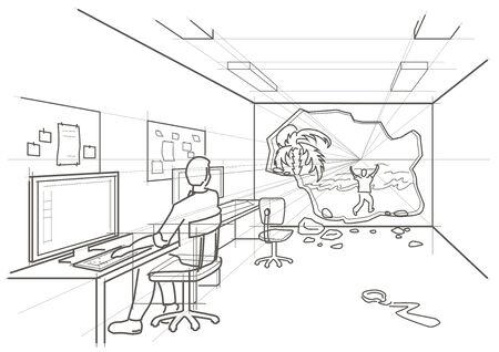 linear sketch dream of vacation Vector Illustration