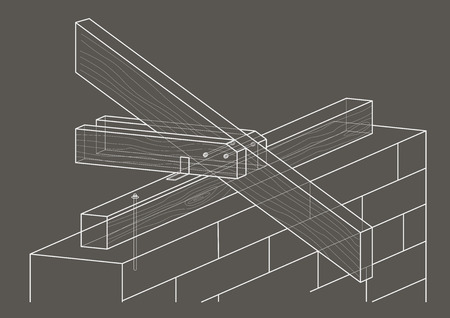 housing project: linear architectural sketch roof construction on gray background