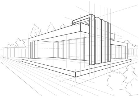 abstract architectural linear sketch modern cottage on white background