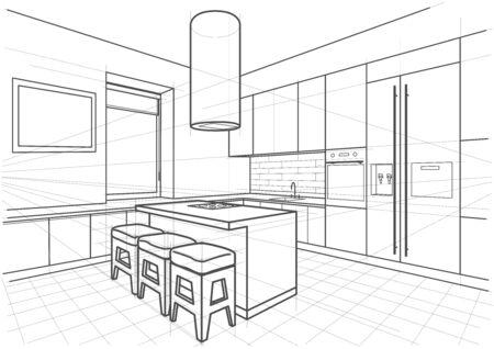 Streszczenie liniowy szkic architektoniczny wnętrze nowoczesna kuchnia z wyspą