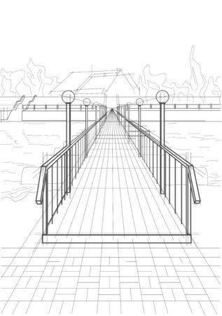 Linear architectural sketch bridge across a river