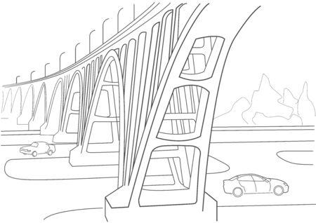 Linear architectural sketch arches viaduct Archivio Fotografico - 128103134