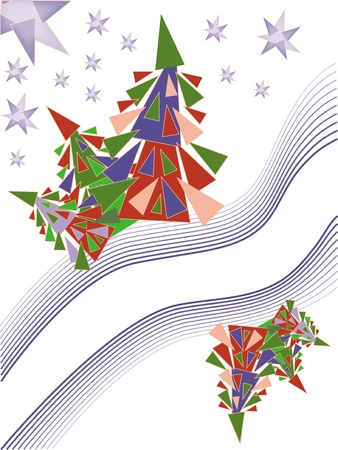 christmas card with holiday tree  Vector