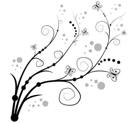 outline flower: white background  with curls and butterfly Illustration
