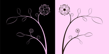 brown and rose flowers Vector